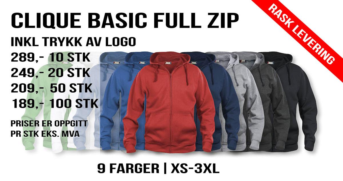 Clique Basic Full ZIP hettejakke med trykk